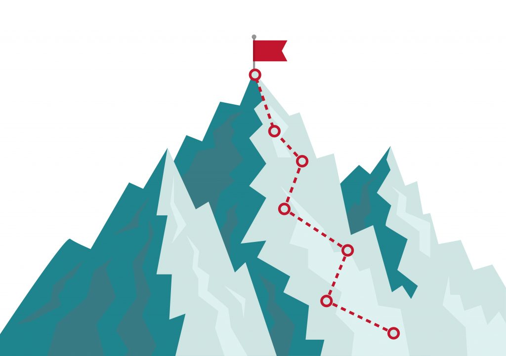 Mountain climbing route to goal. Flat path of journey with direction of line. Cartoon progress career concept. Alpinism plan with flag. Competition of leaders in achieving goal on rock. vector